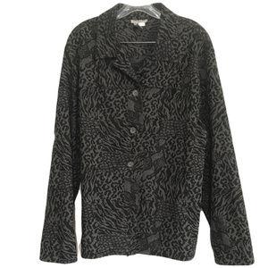Gray & Black Stretch Animal Print Jacket 2X